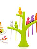preiswerte -6 teile / satz vögel form kreative gemüse obst gabel geschirr geschirrsets küche zubehör