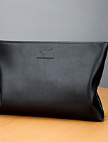 Men Bags PU Clutch Zipper for Event/Party Casual Winter Fall Black