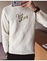 Недорогие -Для мужчин На выход На каждый день Длинный Пуловер Однотонный,Круглый вырез Длинный рукав Полиэстер Зима Осень Толстая Неэластичная