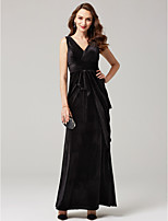 Sheath / Column V-neck Ankle Length Velvet Formal Evening Dress with Sash / Ribbon Criss Cross by TS Couture®
