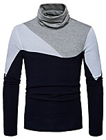 cheap -Men's Daily Casual Regular Pullover,Color Block Turtleneck Long Sleeves Polyester Spandex Winter Thick Micro-elastic