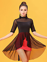 Latin Dance Dresses Women's Performance Ice Silk Pleated Half Sleeve Natural Dresses
