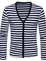 cheap -Men's Daily Casual Regular Cardigan,Striped V Neck Long Sleeves Polyester Spandex Winter Fall Thick Micro-elastic