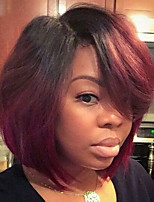 Недорогие -жен. Парики из искусственных волос Короткий Прямой силуэт Красный Парик в афро-американском стиле Стрижка боб Парик из натуральных волос