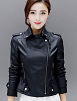 cheap -Women's Daily Casual Winter Fall Leather Jacket,Solid V Neck Long Sleeve Regular PU