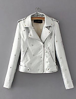 cheap -Women's Daily Vintage Fall Leather Jacket,Solid Peter Pan Collar Long Sleeve Regular Others