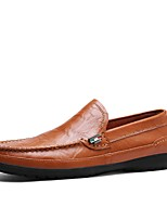 cheap -Men's Shoes Real Leather Spring Summer Moccasin Driving Shoes Loafers & Slip-Ons for Casual Office & Career Black Brown Blue Dark Brown