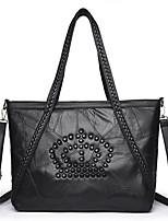 cheap -Unisex Bags Sheepskin Shoulder Bag Beading Zipper for Casual All Season Black
