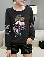 cheap -Women's Going out Street chic Spring T-shirt,Print Round Neck Long Sleeve Cotton Polyester Thick