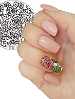 1Pc Blooming Rose Flower Nail Art Stamping Template Image Plate YZWLE Nail Stamping Plates Manicure Stencil Tools