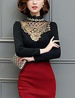 economico -T-shirt Da donna Quotidiano Ufficio sofisticato Boho Inverno Autunno,Fantasia geometrica Colletto alla coreana Altro Maniche lunghe Medio