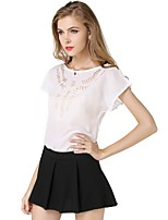 cheap -Women's Holiday Going out Cute Active Sexy Street chic All Seasons Blouse,Solid Round Neck Short Sleeve Polyester Medium
