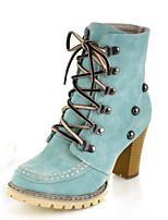 abordables -Mujer Zapatos PU Primavera Otoño Innovador Botas de Moda Botas de Combate Botas Tacón Cuadrado Dedo Puntiagudo Botines/Hasta el Tobillo