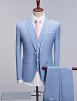 Sky blue Pattern Standard Fit Polyester Suit - Peak Single Breasted Two-buttons