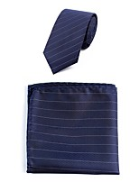 Men's Polyester Necktie,Simple Casual Striped All Seasons Navy Blue