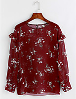 cheap -Women's Going out Casual/Daily Boho Blouse,Floral Round Neck Long Sleeves Polyester Sheer