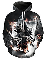 cheap -Men's Plus Size Daily Casual Hoodie Print Hooded Inelastic Polyester Long Sleeve Winter Spring