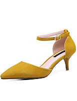 cheap -Women's Shoes Leatherette Spring Summer Basic Pump Heels Kitten Heel Pointed Toe Buckle for Casual Dress Yellow Black