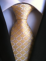 cheap -Men's Polyester Necktie,Work Casual Plaid/Checkered All Seasons Yellow