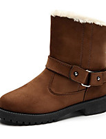 cheap -Women's Shoes Flocking Spring Fall Comfort Snow Boots Boots Flat Heel Booties/Ankle Boots for Casual Blue Brown Black