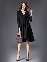cheap -SHE IN SUN Women's Daily Work Casual Street chic A Line Swing Dress,Solid V Neck Maxi Long Sleeve Polyester Fall Mid Rise Inelastic Opaque
