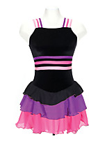 cheap -Figure Skating Dress Women's Girls' Ice Skating Dress Black Spandex Inelastic Performance Practise Skating Wear Solid Sleeveless Ice