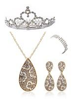 abordables -Mujer Para la Cabeza Los sistemas nupciales de la joyería Cristal Europeo Moda Boda Fiesta Diamante Sintético Legierung Gota Joyería de