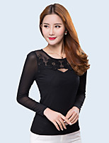 cheap -Women's Daily Casual T-shirt,Solid Round Neck Long Sleeve Cotton Polyester