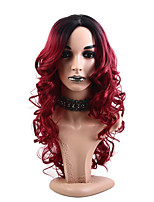 cheap -26 Ombre Black and Red Color Long Body Wavy Synthetic Hair Wigs for Women High Density Temperature Cosplay Wig