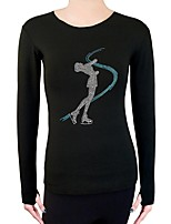 cheap -Figure Skating Top Women's Kid's Ice Skating Sweatshirt Top Blue Black White Spandex Stretchy Solid Performance Practise Skating Wear