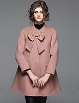 cheap -EWUS Women's Going out Street chic Winter Fall CoatSolid Round Neck Long Sleeve Regular Polyester Bow