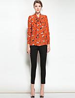 economico -Camicia Da donna Per uscire Casual Vintage Attivo Primavera Estate,Animal Colletto Seta Maniche lunghe Medio spessore
