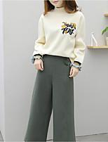 cheap -Women's Daily Casual Winter T-Shirt Pant Suits,Floral Round Neck Long Sleeve Silk