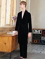 abordables -Costumes Pyjamas Homme,Couleur Pleine Moyen Polyester Noir Marine Gris Vin