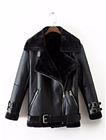 cheap -Women's Going out Simple Winter Leather Jacket,Solid Shirt Collar Long Sleeve Regular PU Cotton