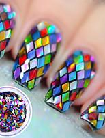 economico -1pc Laser Holografico Con lustrini Multicolore Nail Art Design
