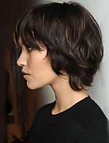 cheap -Women Human Hair Capless Wigs Strawberry Blonde/Light Blonde Medium Auburn Natural Black Short Natural Wave Layered Haircut With Bangs