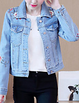cheap -Women's Casual/Daily Simple Fall Denim Jacket,Solid Shirt Collar Long Sleeve Regular Cotton Others