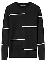 cheap -Men's Daily Wear Simple Regular Pullover,Solid Round Neck Long Sleeves Cotton Acrylic Others Fall Opaque strenchy
