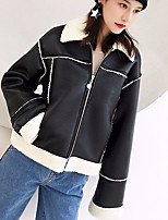 cheap -Women's Casual/Daily Simple Winter Leather Jacket,Solid Round Neck Long Sleeve Regular Cotton Acrylic