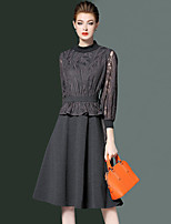 cheap -YHSP Women's Going out Casual/Daily Simple Sexy Street chic A Line Sheath Lace Dress,Solid Stand Midi 3/4 Sleeve Polyester Winter Fall Mid Rise