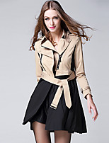 cheap -Women's Daily Vintage Fall Trench Coat,Solid Shirt Collar Long Sleeve Long Cotton