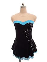 abordables -Robe de Patinage Artistique Femme Fille Patinage Robes Noir non élastique Utilisation Exercice Tenue de Patinage Couleur Pleine Sans