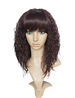 cheap -Women Synthetic Wig Long Kinky Curly Dark Wine Natural Hairline With Bangs Celebrity Wig Cosplay Wig Natural Wigs Costume Wig
