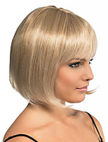 Women Synthetic Wig Flaxen Short Straight BOBO Hair With Bangs Natural Wig