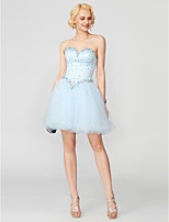cheap -A-Line Princess Sweetheart Short / Mini Tulle Cocktail Party Dress with Beading Crystal Detailing Pleats Bandage by TS Couture®