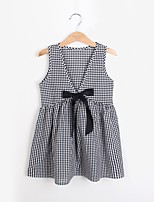 Girl's Casual/Daily Grid Pattern Dress,Polyester Winter Fall Short Sleeves Simple Black