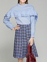 Women's Going out Simple Fall Shirt Skirt Suits,Houndstooth Round Neck Long Sleeve Polyester