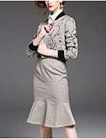 Set Jupe Costumes Femme,Pied-de-poule Décontracté / Quotidien simple Automne Manches longues Col en V Carreaux Polyester Micro-élastique