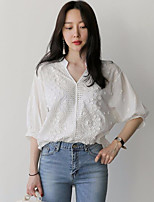cheap -Women's Daily Vintage Blouse,Solid V Neck Long Sleeve Cotton